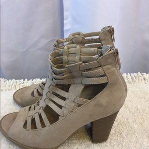Guess Beige suede zipper heels boots size 8.5